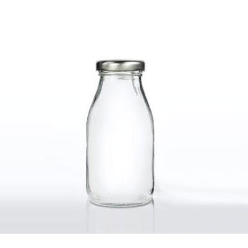 Mini Glass Soda or Milk Bottle - Silver Lid 200ML