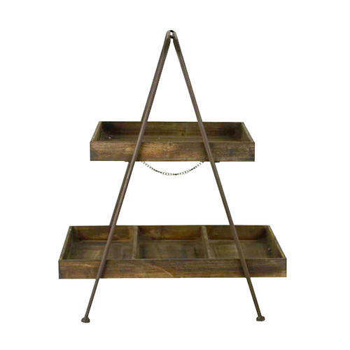 Rustic Wooden Rectangular Tray Cake Stand