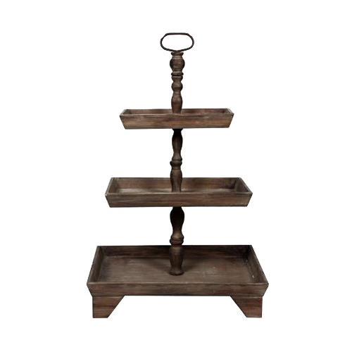 Rustic Three Tiered Wooden Cake Stand