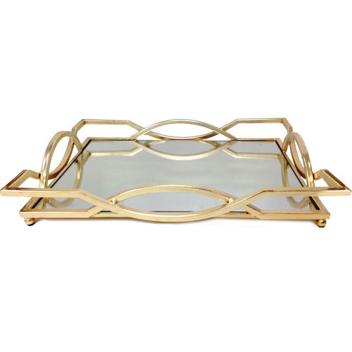 Gold Art Deco Mirrored Serving Tray