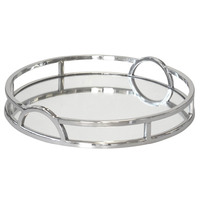 Silver Chrome Round Mirrored Tray with Arch Handles Large